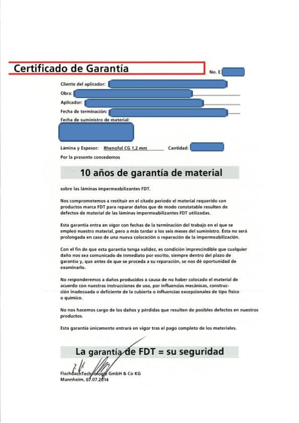 Certificado de garantía productos FDT