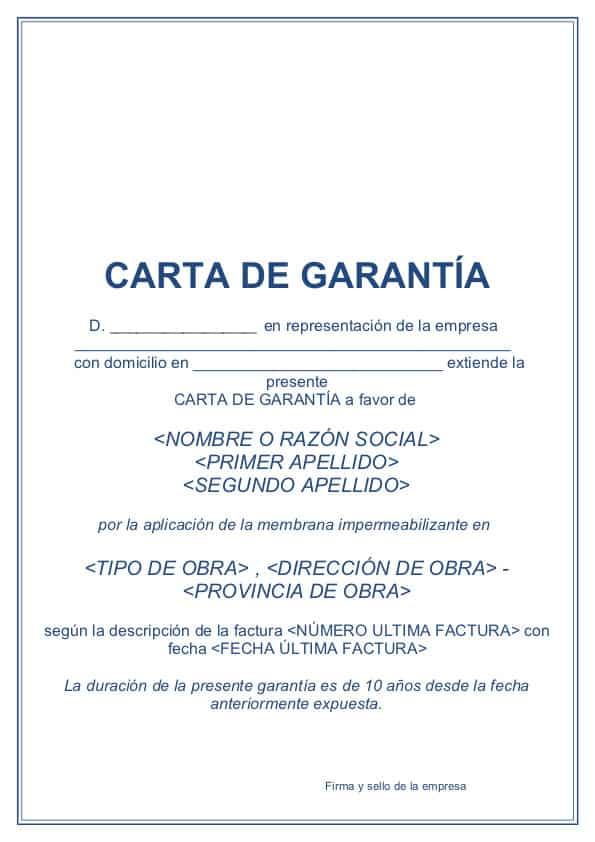 Carta de garantía de estanqueidad ITM