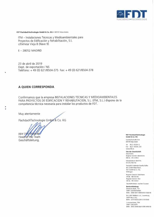 Certificado de Instalador Acreditado FDT